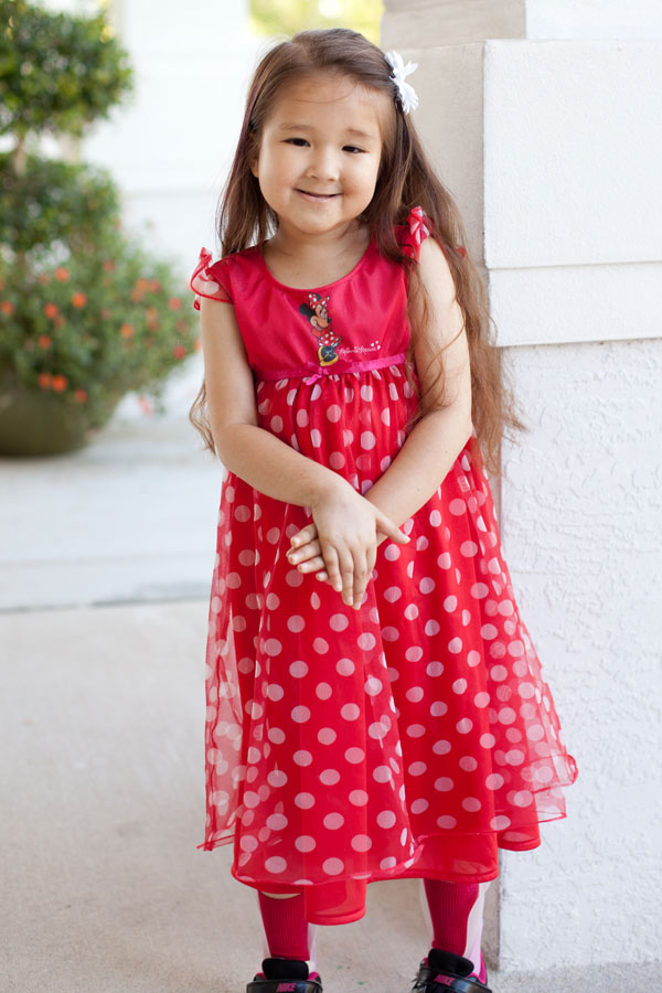 Princess Sophiella in a red polka dot dress